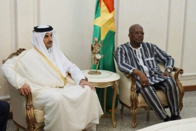 Son Altesse Cheikh Tamim Bin Hamad Al-Thani Emir du Qatar, et le président Burkinabé Roch M.C. Kabore