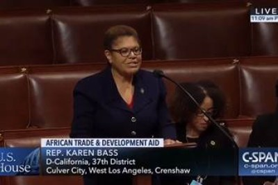 Rep. Karen Bass (D-Calif.) speaking on the floor of the House of Representatives urging Congress to pass the AGOA and MCA Modernization Act.