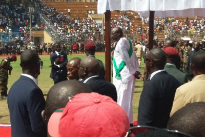 Weah inspects the troops following his inauguration (file photo).