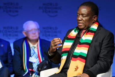 President Emmerson Mnangagwa during the World Economic Forum in Davos (file photo).