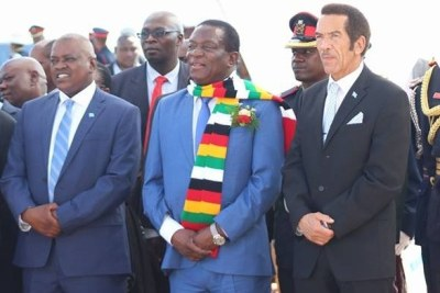 Presidents Emmerson Mnangagwa, Ian Khama and other dignitaries enjoy a performance by traditional dancers in Botswana.