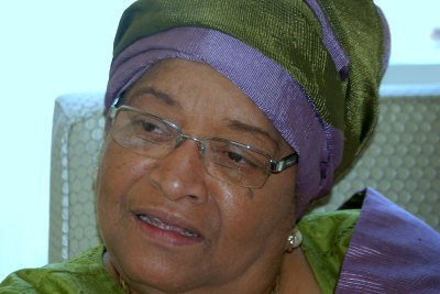 Ellen Johnson Sirleaf speaking in Washington, DC