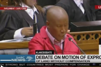 EFF leader Julius Malema during the land expropriation debate