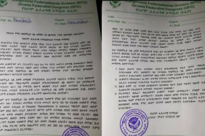 A document produced by the Oromo Federalist Congress.