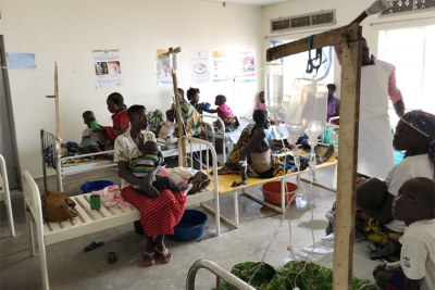 Congolese refugees receiving treatment for cholera in Hoima.