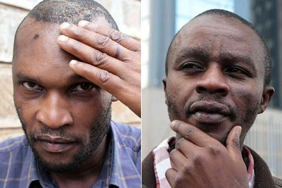 Samuel Kimani Wachira (left) and John Nderitu (right) were discharged from Kenyatta National Hospital.