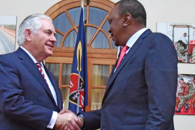 President Uhuru Kenyatta greets the visiting U.S. Secretary of State Rex Tillerson at State House in Nairobi on Friday.
