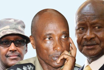 Left to right Henry Tumukunde, Kale Kayihura and President Yoweri Museveni