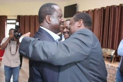 Nasa co-principals Raila Odinga and Musalia Mudavadi meet at Stoni Athi Resort in Athi River on March 12, 2018.