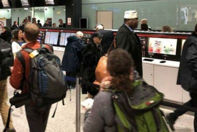 Miguna Miguna arriving at Jomo Kenyatta International Airport in March.