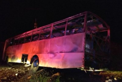 The bus that was set alight which resulted in the deaths of six miners.