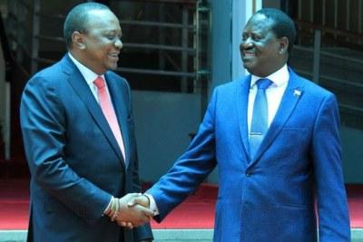 President Kenyatta and Nasa leader Raila Odinga when they met at Harambee house on March 9, 2018.