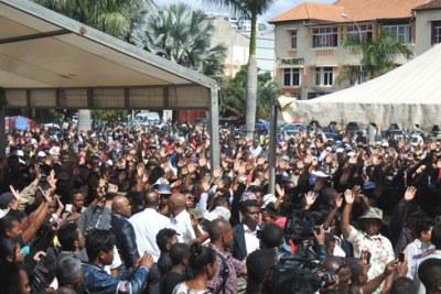Manifestation à la Place du 13 mai à Madagascar.