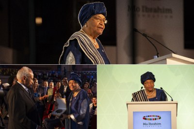 Ellen Johnson Sirleaf, the former President of Liberia, accepting the $5 million Ibrahim Prize for Achievement in African Leadership during a special Leadership Ceremony in Kigali, Rwanda. #MIFKigali.