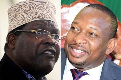 LEFT: Lawyer Miguna Miguna. RIGHT: Nairobi Governor Mike Sonko.