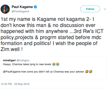 Kagame Slams Zimbabwean Politician, Leads to Hilarious #ChamisaChallenge