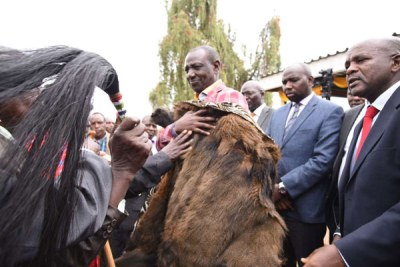 Deputy President William Ruto is installed as a Tugen elder at Eldama Ravine in Baringo County on May 19, 2018.