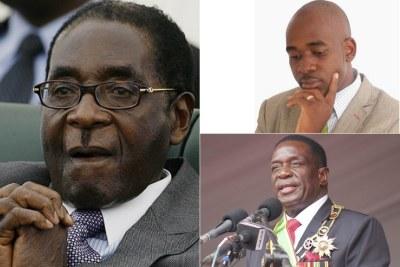 Former Zimbabwe President Robert Mugabe, MDC Alliance Nelson Chamisa and Zimbabwe President Emmerson Mnangagwa.