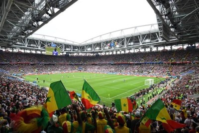 Supporters of Senegal's team in Moscow's Spartak Stadium.