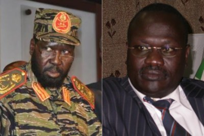 Salva Kiir (right) and Riek Machar (left)