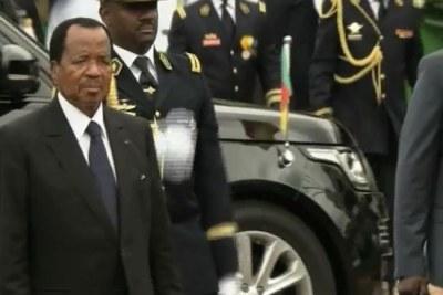 Le Président Paul Biya à son arrivée lors de la célébration de la fête nationale du Cameroun, le 20 Mai 2018.