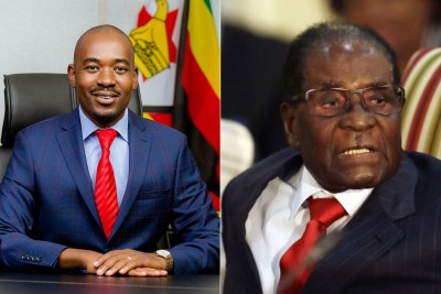 Opposition leader Nelson Chamisa and former president Robert Mugabe (file photo).