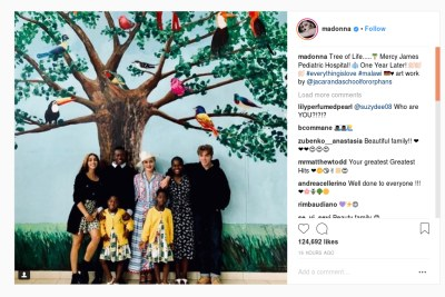 Madonna poses with all six of her children as they visit Malawi.