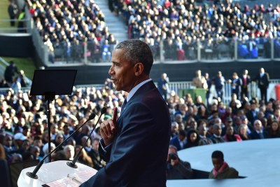 Former American President Barak Obama delivers the 16th Nelson Mandela Annual Lecture at the Wanderers Stadium in Illovo, Johannesburg.