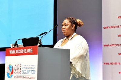 "South African Deputy Minister of Social Development, Ms Hendrietta Bogopane Zulu addresses the session ""HIV and Key Populations in Africa: Business Unusual"". The session brings together a cross section of some of the continent's leading implementers of key population programming"