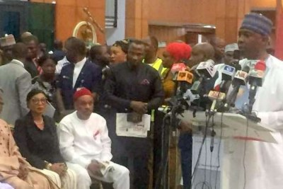Senate President Bukola Saraki at the World Press Conference in the National Assembly.