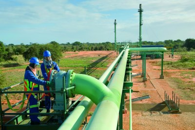 A gas pipeline in Mozambique.