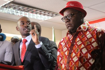 MDC Alliance's Nelson Chamisa and Tendai Biti (file photo).