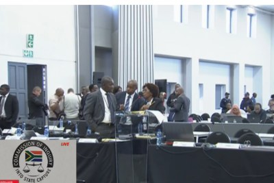 SABC video screenshot of the Zondo Commission of Inquiry.