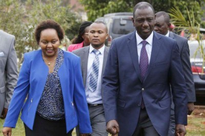 Deputy President William Ruto (right) with Kirinyaga governor Anne Waiguru when he met Kirinyaga county MCAs at his Karen residence office in Nairobi.