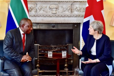 President Cyril Ramaphosa meets with British Prime Minister Theresa May (file photo).