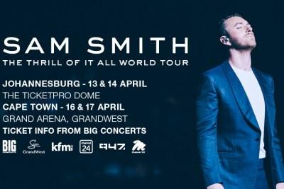 Sam Smith to tour South Africa.