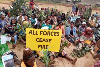 Women protest in Bamenda, Cameroon, in response to a Sept. 3, 2018, attack on the local Presbyterian School of Science and Technology, where six students were abducted.