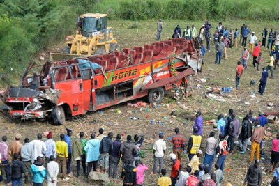 The scene of a bus crash in Kericho on October 10, 2018.