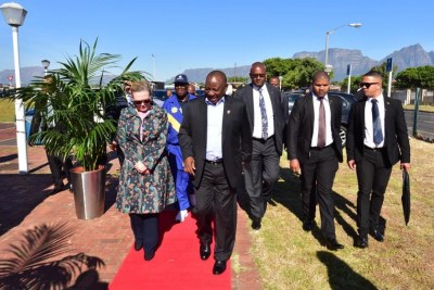 President Cyril Ramaphosa arrives at the launch of the Anti-Gang Unit.