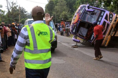 A bus on the Nairobi-Busia route being towed away following a road accident that occurred at Waiyaki Way on January 7, 2018.
