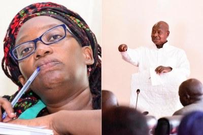 Ugandan activist Stella Nyanzi and president Yoweri Museveni (file photo).