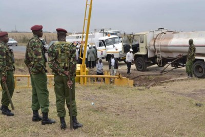 General Service Unit officers cordon off an area where jet fuel spilt near Kenya Pipeline depot on North Airport Road (file photo).