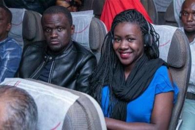 Passengers on the Nairobi-New York inaugural flight.