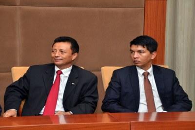 Marc Ravalomanana and Andry Rajoelina (file photo).
