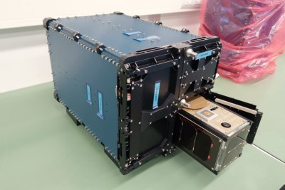 The ZACube-2 nanosatellite in its quadpack deployer..