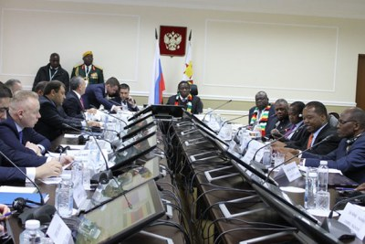 President Emmerson Mnangagwa at the inaugural Russia-Zimbabwe Business Forum in Moscow, Russia.