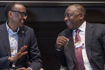 From left - Presidents Paul Kagame and Cyril Ramaphosa (file photo).