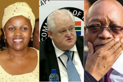 Left: Former chairperson of South African Airways Dudu Myeni. Centre: Former Bosasa chief Angelo Agrizzi. Right: Former president Jacob Zuma.