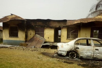 Damaged building that was part of the torched district hospital in Kumba (file photo).