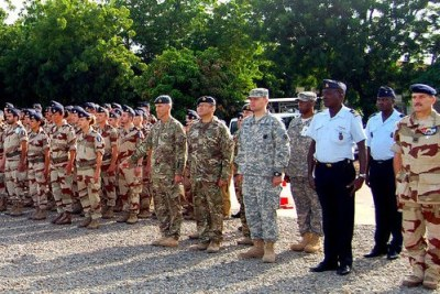 The militaries of France and Chad participate in ceremony to commemorate launch of Operation Barkhane.